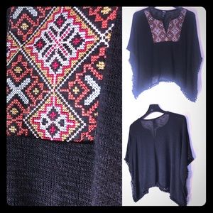 Bohemian Tribal Top Short Sleeve w/Tasseled Hem